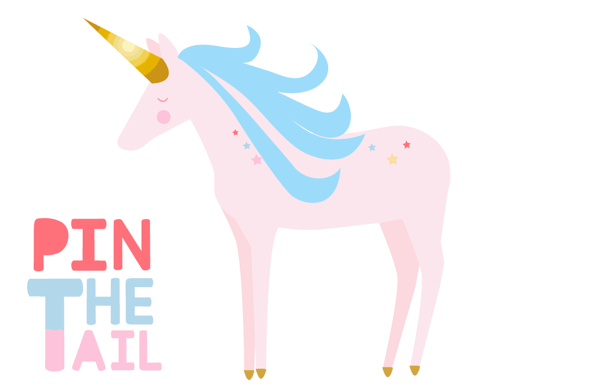 This is a photo of Sweet Pin the Tail on the Unicorn Printable